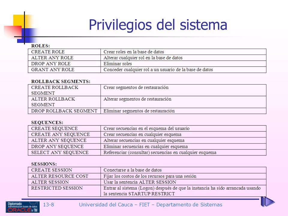 13-8 Universidad del Cauca – FIET – Departamento de Sistemas Privilegios del sistema