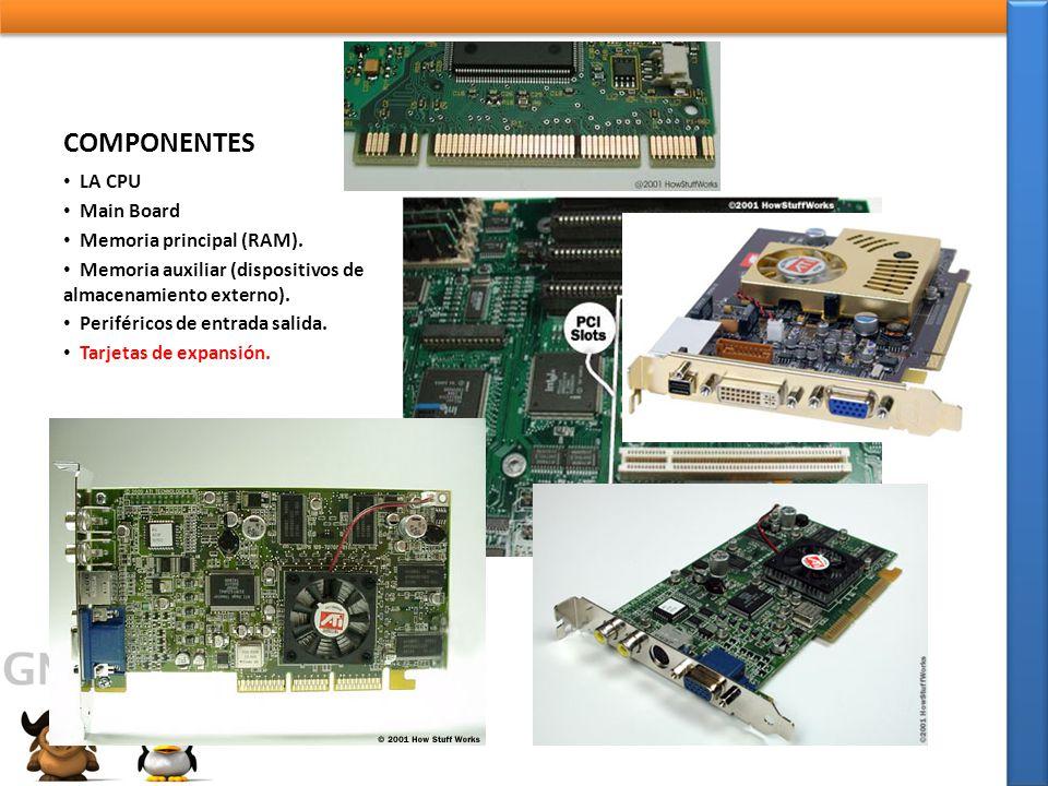 COMPONENTES LA CPU Main Board Memoria principal (RAM).