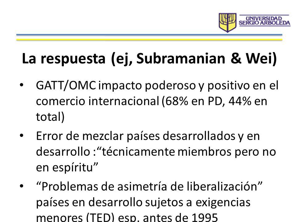 Alta concentración en destinos & productos para Colombia Elevada dependencia de exportadores colombianos de aranceles preferenciales unilaterales y negociados (96.3%) Solo el 3.7% de la muestra, corresponde a aranceles consolidados en la OMC Pero se eleva a 39% al incluir SGP (GATT/OMC)