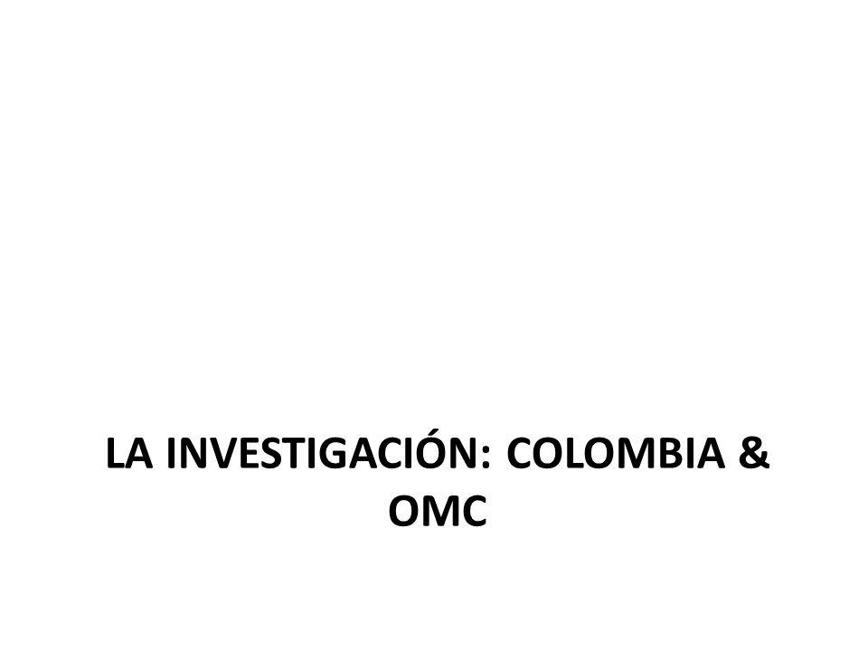METODOLOGÍA 1.Identificación de los 10 principales destinos de exportación de productos no tradicionales 2.Selección de los 15 principales productos no tradicionales (NT) exportados por Colombia 1995-2009 a cada destino 3.Identificación de tratamiento arancelario en cada destino para los productos de la muestra (partida a 10 dígitos)