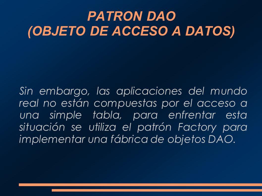 PATRON DAO (OBJETO DE ACCESO A DATOS) Sin embargo, las aplicaciones del mundo real no están compuestas por el acceso a una simple tabla, para enfrenta