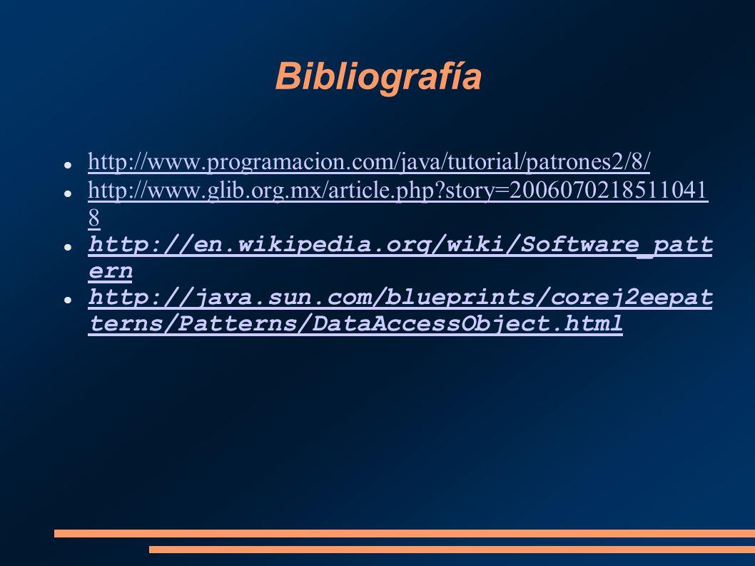 Bibliografía http://www.programacion.com/java/tutorial/patrones2/8/ http://www.glib.org.mx/article.php?story=2006070218511041 8 http://www.glib.org.mx