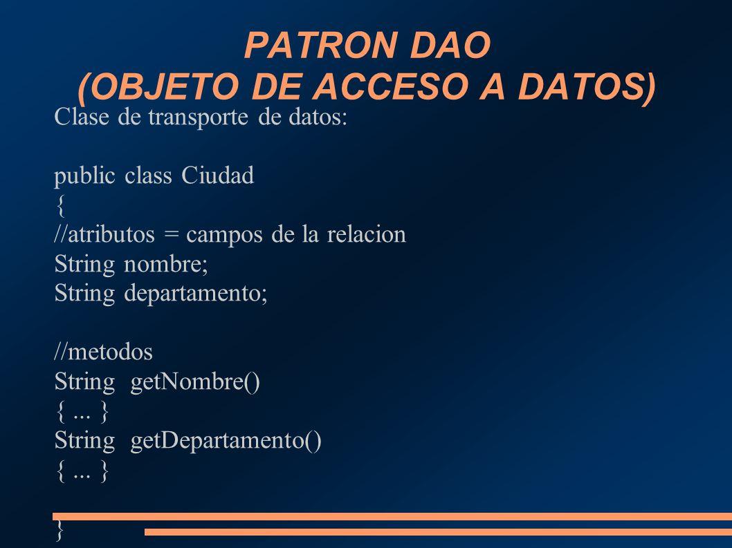 PATRON DAO (OBJETO DE ACCESO A DATOS) Clase de transporte de datos: public class Ciudad { //atributos = campos de la relacion String nombre; String de
