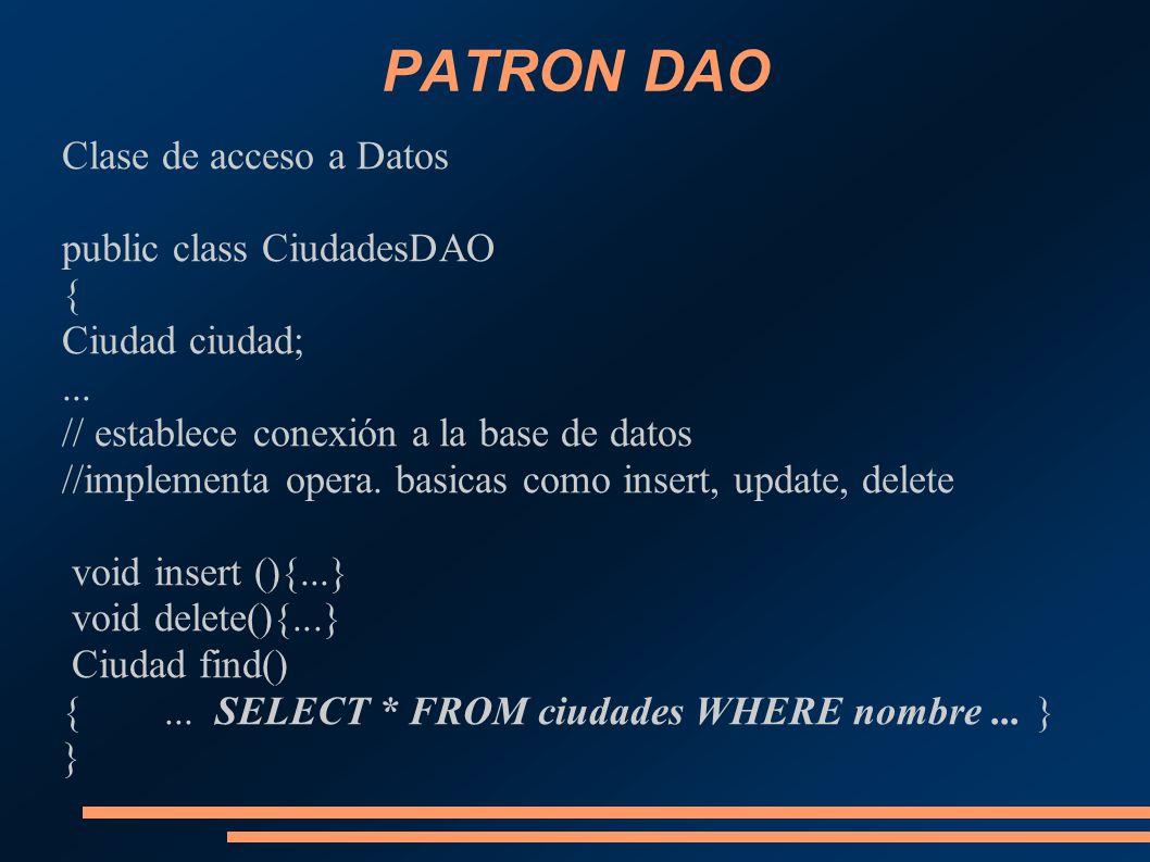 PATRON DAO Clase de acceso a Datos public class CiudadesDAO { Ciudad ciudad;... // establece conexión a la base de datos //implementa opera. basicas c