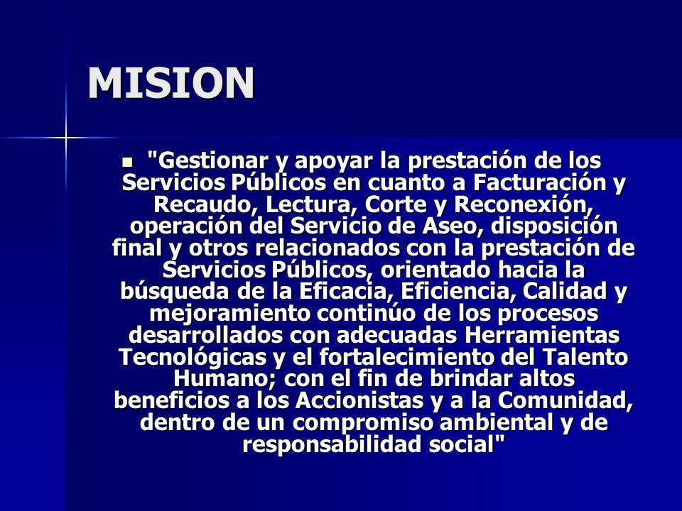 VISION Consolidarse en el 2010 como Empresa Líder en Colombia en la solución integral de los Servicios Públicos, tales como: Operación, Administración y Gestión Comercial, brindando siempre satisfacción a nuestros clientes y usuarios