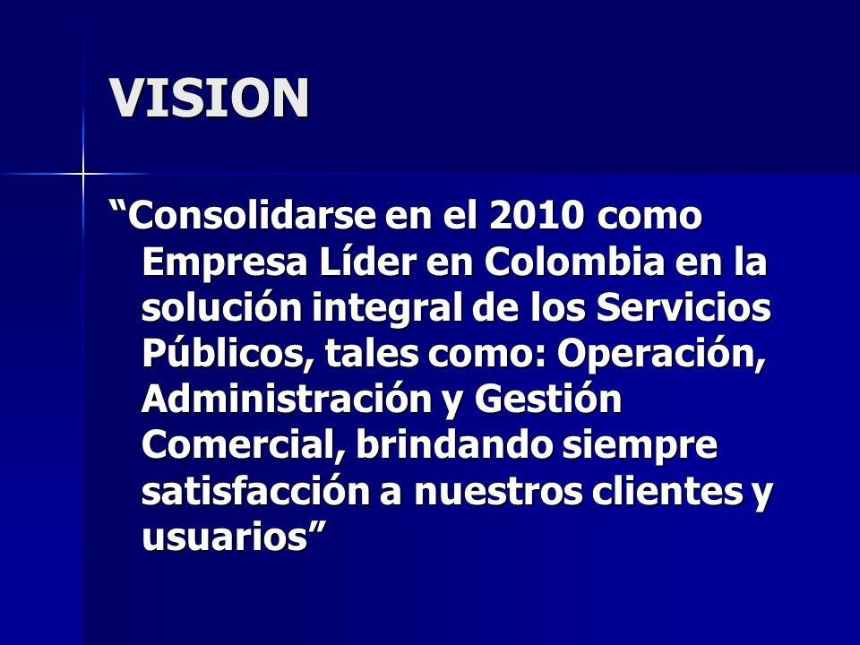 VISION Consolidarse en el 2010 como Empresa Líder en Colombia en la solución integral de los Servicios Públicos, tales como: Operación, Administración