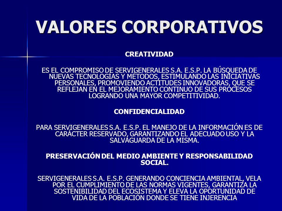 CREATIVIDAD ES EL COMPROMISO DE SERVIGENERALES S.A. E.S.P. LA BÚSQUEDA DE NUEVAS TECNOLOGÍAS Y MÉTODOS, ESTIMULANDO LAS INICIATIVAS PERSONALES, PROMOV
