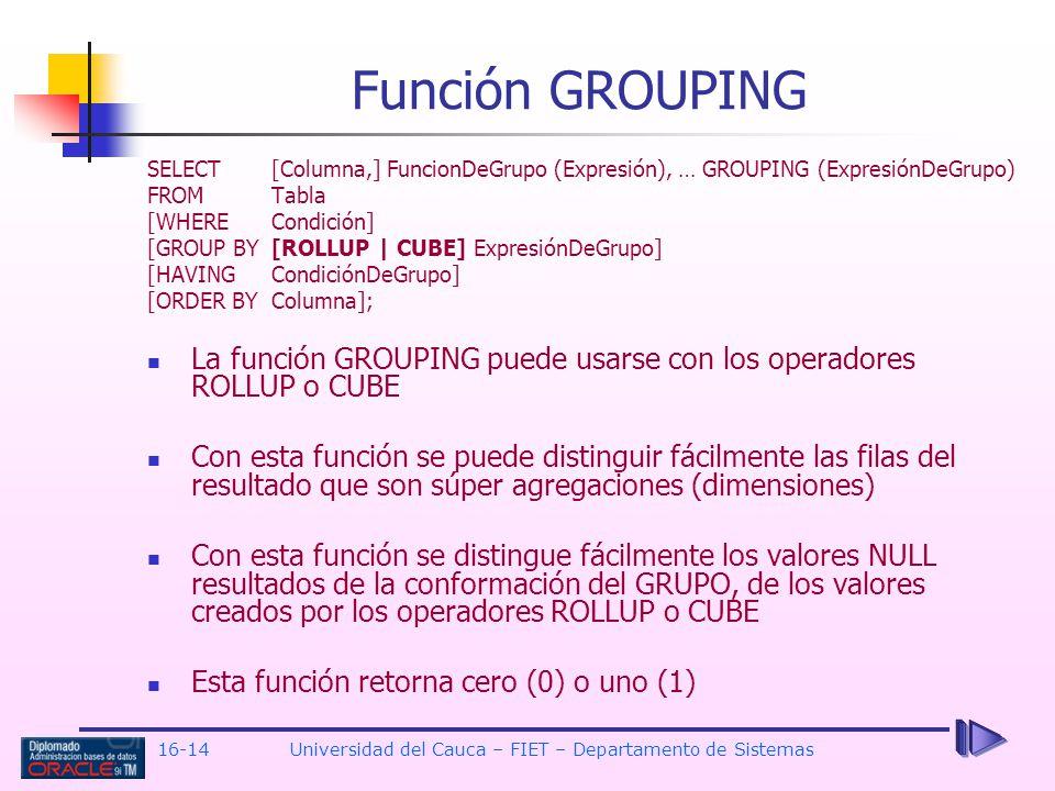 16-14Universidad del Cauca – FIET – Departamento de Sistemas Función GROUPING SELECT[Columna,] FuncionDeGrupo (Expresión), … GROUPING (ExpresiónDeGrup