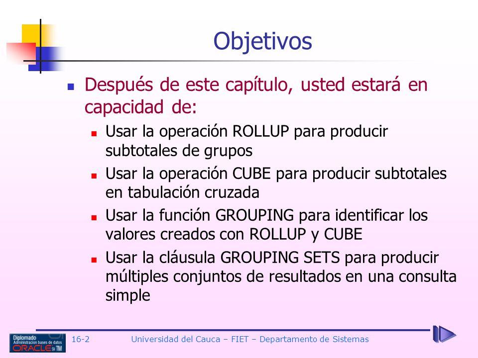 16-2Universidad del Cauca – FIET – Departamento de Sistemas Después de este capítulo, usted estará en capacidad de: Usar la operación ROLLUP para prod