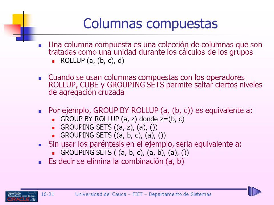 16-21Universidad del Cauca – FIET – Departamento de Sistemas Una columna compuesta es una colección de columnas que son tratadas como una unidad duran