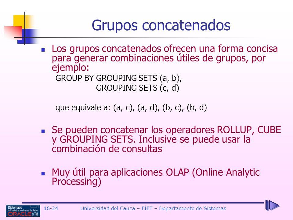 16-24Universidad del Cauca – FIET – Departamento de Sistemas Los grupos concatenados ofrecen una forma concisa para generar combinaciones útiles de gr