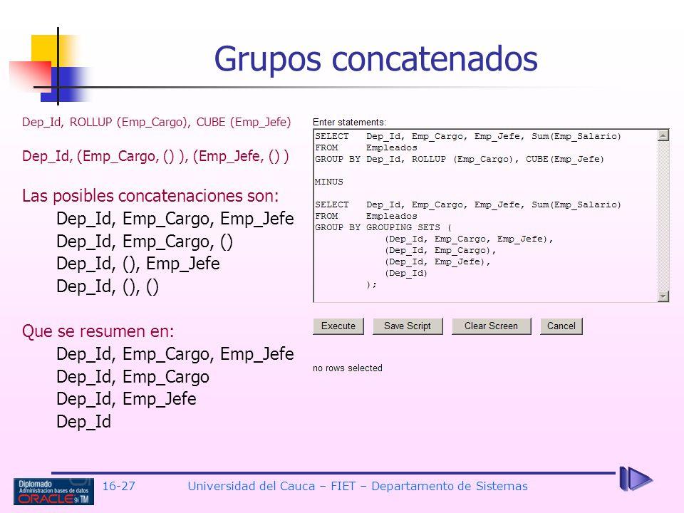 16-27Universidad del Cauca – FIET – Departamento de Sistemas Grupos concatenados Dep_Id, ROLLUP (Emp_Cargo), CUBE (Emp_Jefe) Dep_Id, (Emp_Cargo, () ),