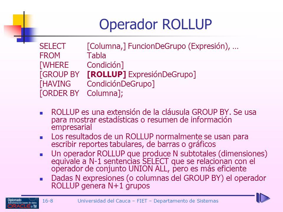 16-8Universidad del Cauca – FIET – Departamento de Sistemas Operador ROLLUP SELECT[Columna,] FuncionDeGrupo (Expresión), … FROM Tabla [WHERE Condición