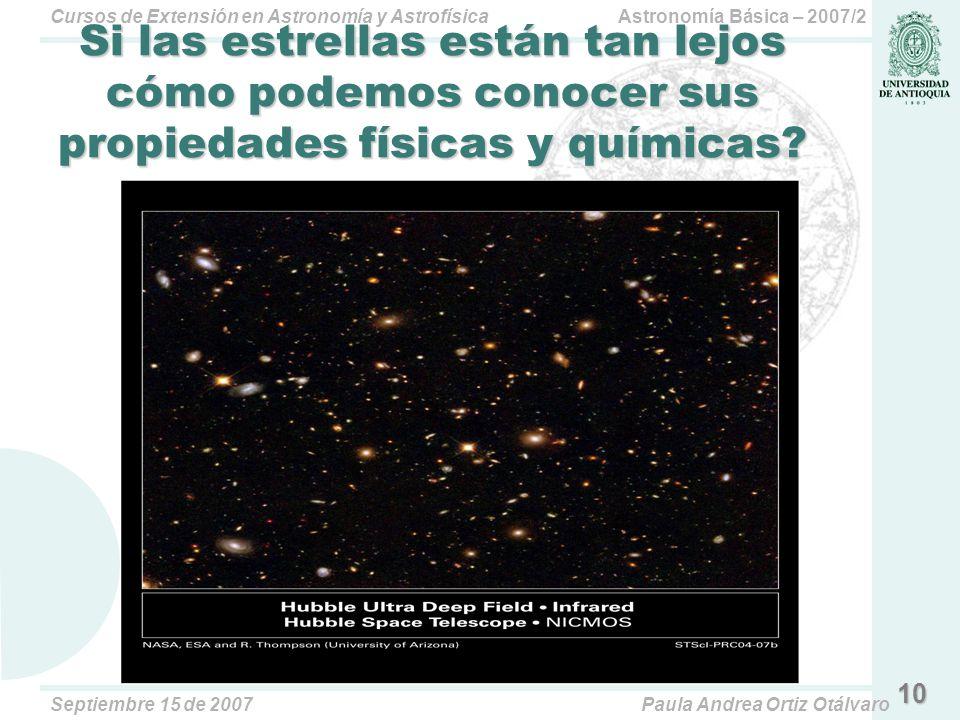 Astronomía Básica – 2007/2Cursos de Extensión en Astronomía y Astrofísica Septiembre 15 de 2007Paula Andrea Ortiz Otálvaro 10 Si las estrellas están tan lejos cómo podemos conocer sus propiedades físicas y químicas?