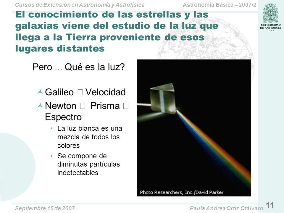 Astronomía Básica – 2007/2Cursos de Extensión en Astronomía y Astrofísica Septiembre 15 de 2007Paula Andrea Ortiz Otálvaro 11 El conocimiento de las e