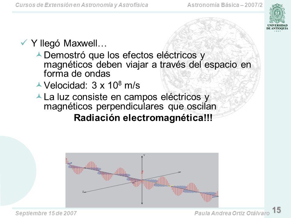 Astronomía Básica – 2007/2Cursos de Extensión en Astronomía y Astrofísica Septiembre 15 de 2007Paula Andrea Ortiz Otálvaro 15 Y llegó Maxwell… Demostró que los efectos eléctricos y magnéticos deben viajar a través del espacio en forma de ondas Velocidad: 3 x 10 8 m/s La luz consiste en campos eléctricos y magnéticos perpendiculares que oscilan Radiación electromagnética!!!