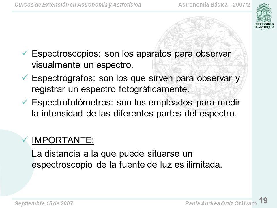 Astronomía Básica – 2007/2Cursos de Extensión en Astronomía y Astrofísica Septiembre 15 de 2007Paula Andrea Ortiz Otálvaro 19 Espectroscopios: son los aparatos para observar visualmente un espectro.