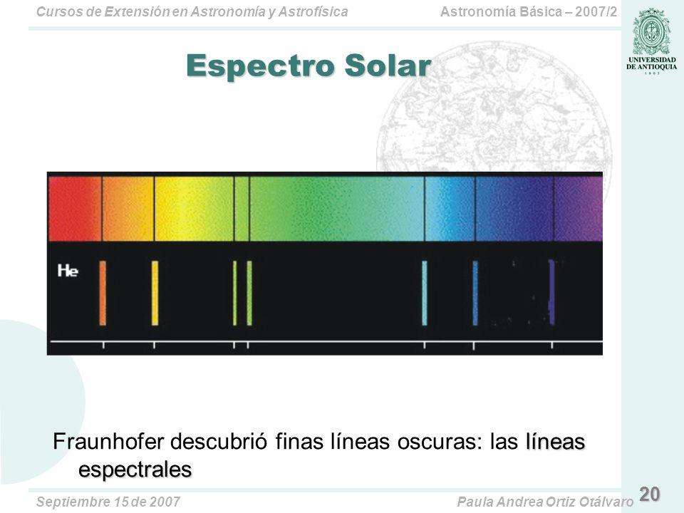 Astronomía Básica – 2007/2Cursos de Extensión en Astronomía y Astrofísica Septiembre 15 de 2007Paula Andrea Ortiz Otálvaro 20 Espectro Solar líneas espectrales Fraunhofer descubrió finas líneas oscuras: las líneas espectrales