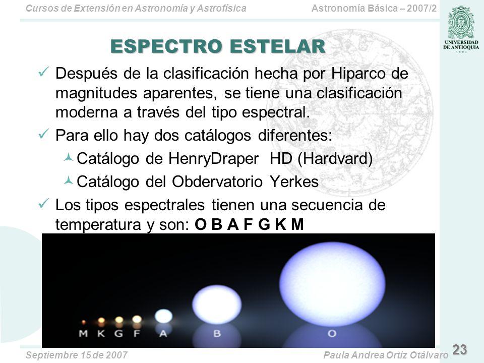 Astronomía Básica – 2007/2Cursos de Extensión en Astronomía y Astrofísica Septiembre 15 de 2007Paula Andrea Ortiz Otálvaro 23 ESPECTRO ESTELAR Después de la clasificación hecha por Hiparco de magnitudes aparentes, se tiene una clasificación moderna a través del tipo espectral.