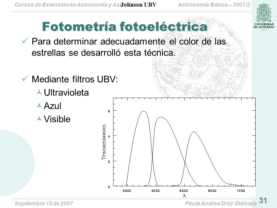 Astronomía Básica – 2007/2Cursos de Extensión en Astronomía y Astrofísica Septiembre 15 de 2007Paula Andrea Ortiz Otálvaro 31 Fotometría fotoeléctrica Para determinar adecuadamente el color de las estrellas se desarrolló esta técnica.