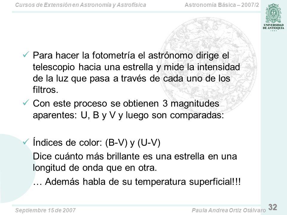 Astronomía Básica – 2007/2Cursos de Extensión en Astronomía y Astrofísica Septiembre 15 de 2007Paula Andrea Ortiz Otálvaro Para hacer la fotometría el astrónomo dirige el telescopio hacia una estrella y mide la intensidad de la luz que pasa a través de cada uno de los filtros.