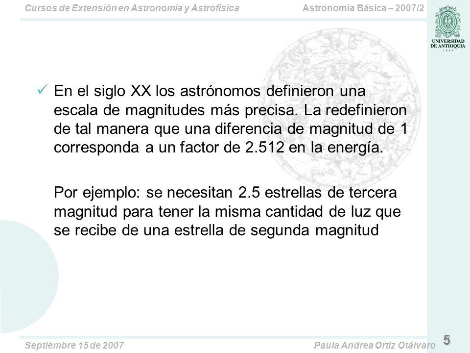Astronomía Básica – 2007/2Cursos de Extensión en Astronomía y Astrofísica Septiembre 15 de 2007Paula Andrea Ortiz Otálvaro 6 La Escala de Magnitudes A estas magnitudes se les llama magnitudes aparentes porque describe cuán brillante un objeto aparece para un observador en la Tierra.