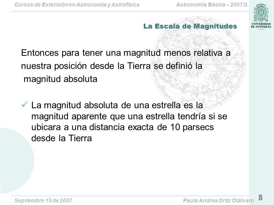 Astronomía Básica – 2007/2Cursos de Extensión en Astronomía y Astrofísica Septiembre 15 de 2007Paula Andrea Ortiz Otálvaro 8 La Escala de Magnitudes Entonces para tener una magnitud menos relativa a nuestra posición desde la Tierra se definió la magnitud absoluta La magnitud absoluta de una estrella es la magnitud aparente que una estrella tendría si se ubicara a una distancia exacta de 10 parsecs desde la Tierra