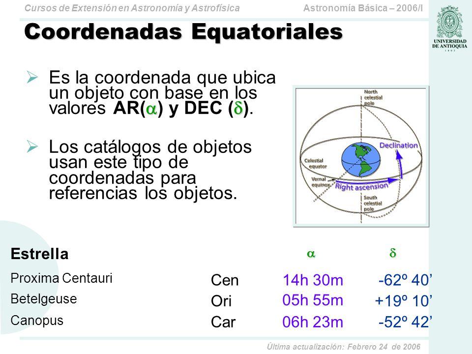 Astronomía Básica – 2006/ICursos de Extensión en Astronomía y Astrofísica Última actualización: Febrero 24 de 2006 Auto-Test La precesión luni-solar cambia la posición de las estrellas en la esfera celeste.