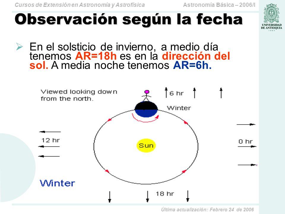 Astronomía Básica – 2006/ICursos de Extensión en Astronomía y Astrofísica Última actualización: Febrero 24 de 2006 Coordenadas Eclípticas Está centrado en el sol.