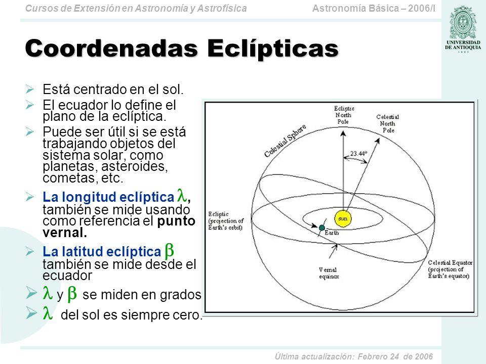 Astronomía Básica – 2006/ICursos de Extensión en Astronomía y Astrofísica Última actualización: Febrero 24 de 2006 Coordenadas Galácticas Está centrado en el núcleo galáctico.