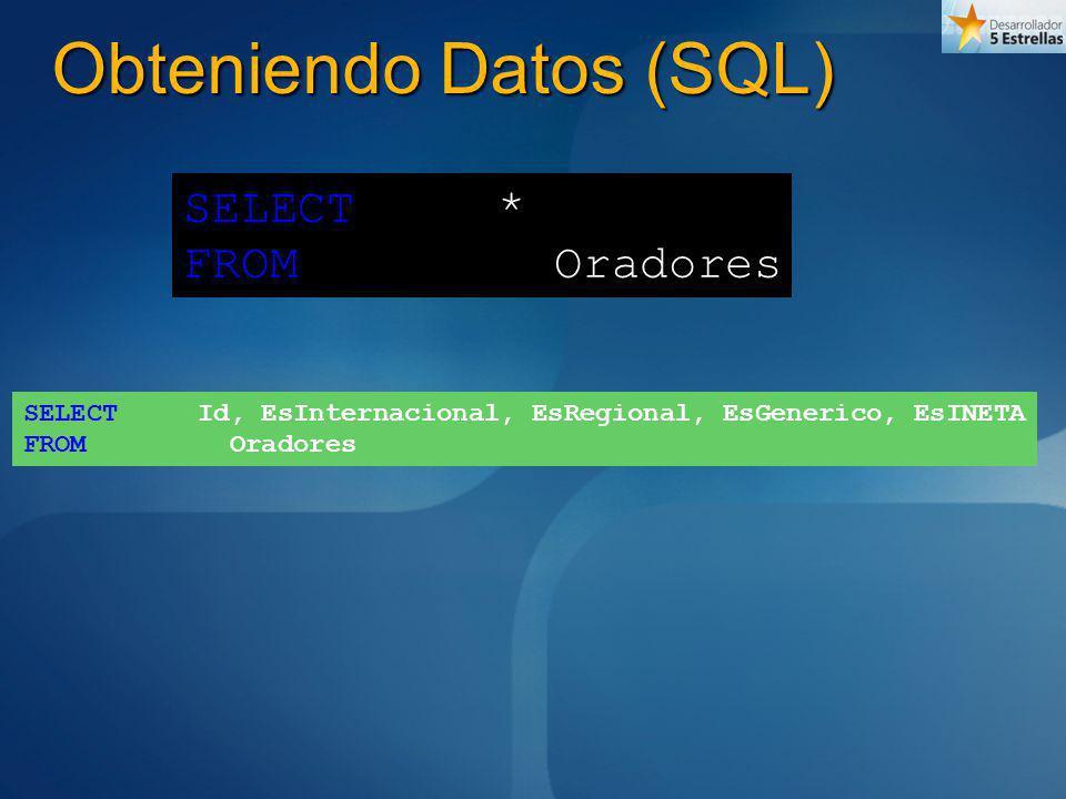 Obteniendo Datos (SQL) SELECT Id, EsInternacional, EsRegional, EsGenerico, EsINETA FROM Oradores SELECT * FROM Oradores