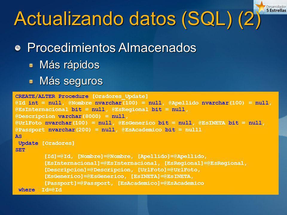Actualizando datos (SQL) (2) Procedimientos Almacenados Más rápidos Más seguros CREATE/ALTER Procedure [Oradores_Update] @Id int = null, @Nombre nvarc