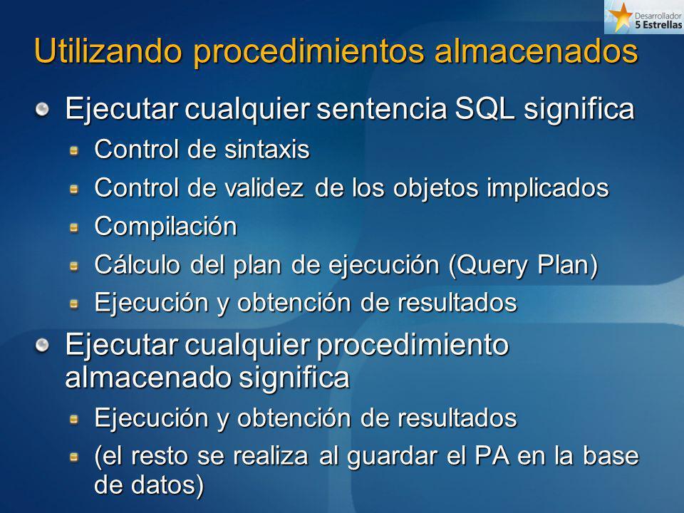 Utilizando procedimientos almacenados Ejecutar cualquier sentencia SQL significa Control de sintaxis Control de validez de los objetos implicados Comp