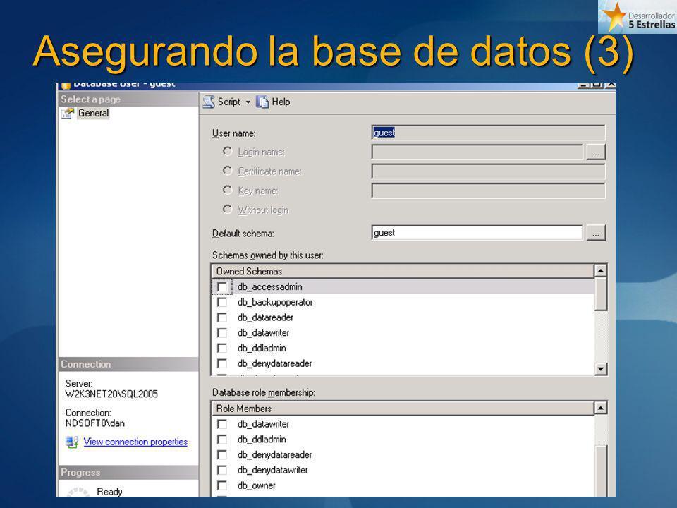 Asegurando la base de datos (3)