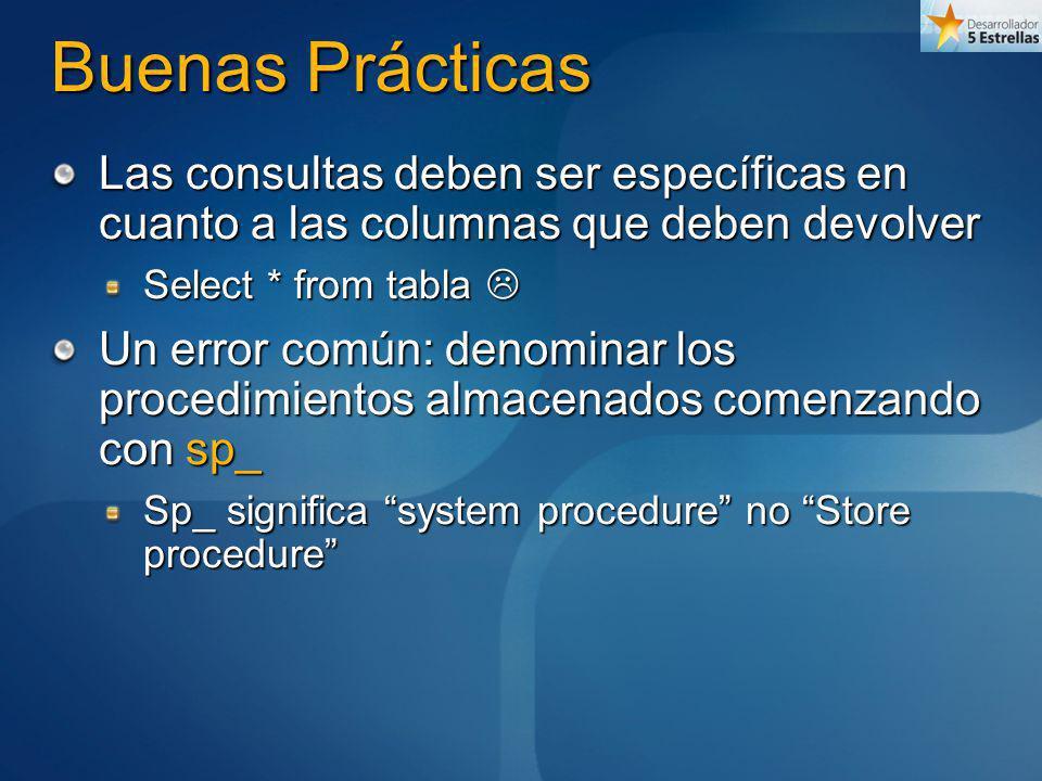 Buenas Prácticas Las consultas deben ser específicas en cuanto a las columnas que deben devolver Select * from tabla Select * from tabla Un error comú