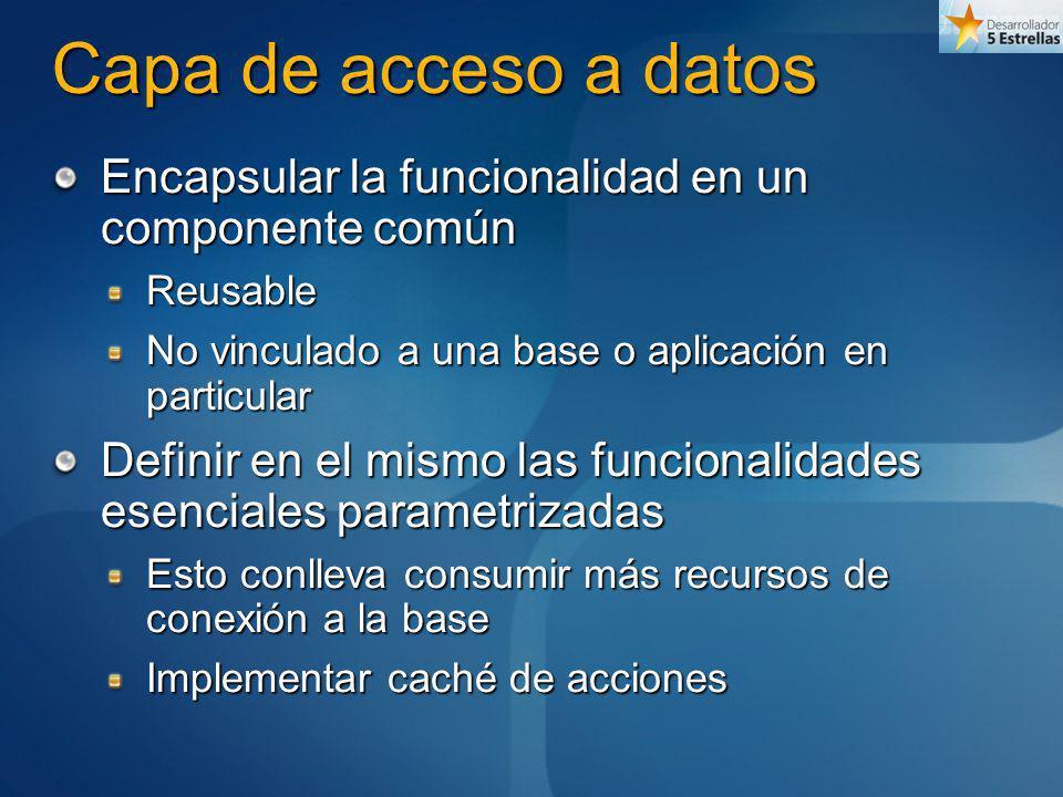 Capa de acceso a datos Encapsular la funcionalidad en un componente común Reusable No vinculado a una base o aplicación en particular Definir en el mi