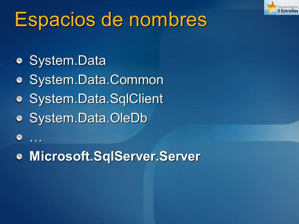 System.Data Fundamento de la infraestructura de acceso a datos Contiene clases de definición base de los objetos de datos DataColumnDataTypeDataRowDataTableDataSet…