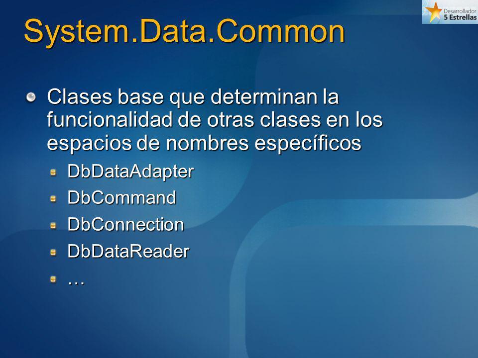 System.Data.SqlClient Específica para acceder a bases de datos SQL Server© Optimizada en su comunicación con dicha base Implementa formas específicas de los mismos objetos existentes en Common por herencia SqlDataAdapterSqlCommandSqlConnection…
