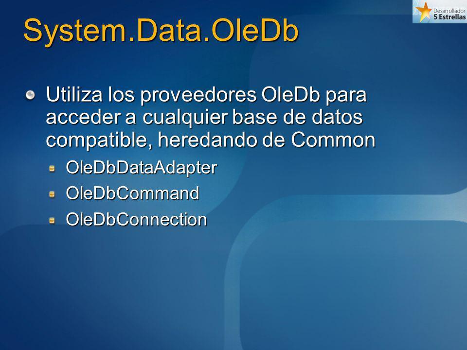 System.Data.OleDb Utiliza los proveedores OleDb para acceder a cualquier base de datos compatible, heredando de Common OleDbDataAdapterOleDbCommandOle