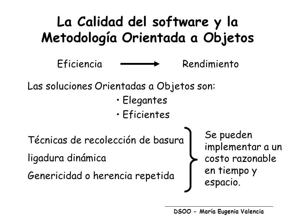 DSOO - María Eugenia Valencia La Calidad del software y la Metodología Orientada a Objetos EficienciaRendimiento Las soluciones Orientadas a Objetos s