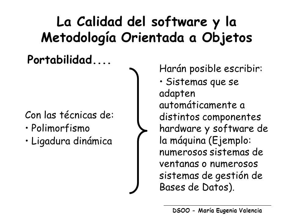 DSOO - María Eugenia Valencia La Calidad del software y la Metodología Orientada a Objetos Portabilidad.... Con las técnicas de: Polimorfismo Ligadura