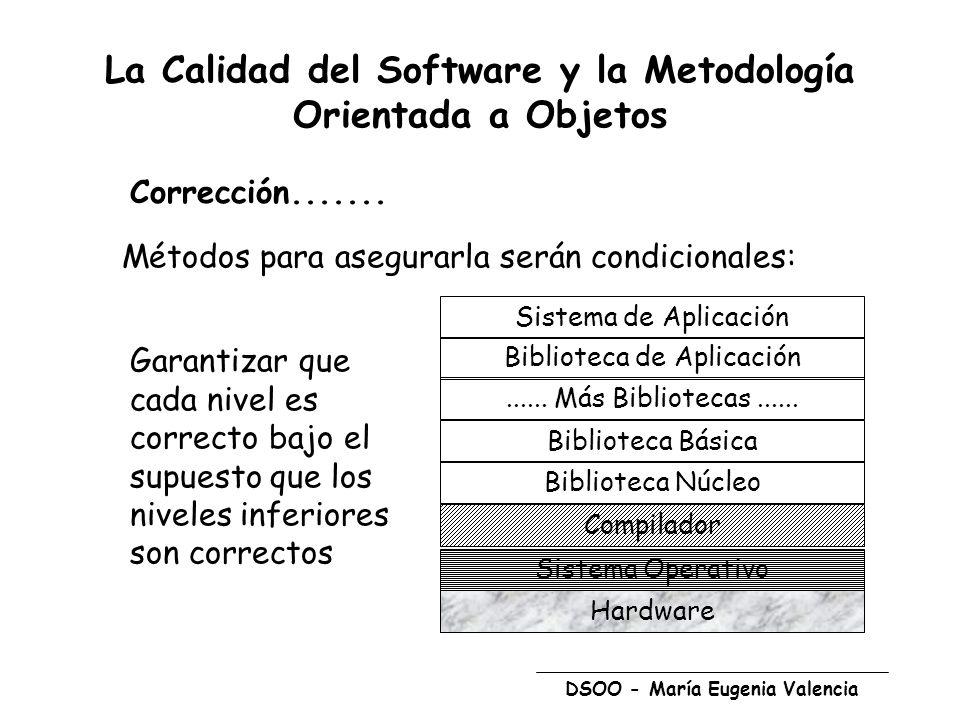 DSOO - María Eugenia Valencia La Calidad del Software y la Metodología Orientada a Objetos Métodos para asegurarla serán condicionales: Garantizar que