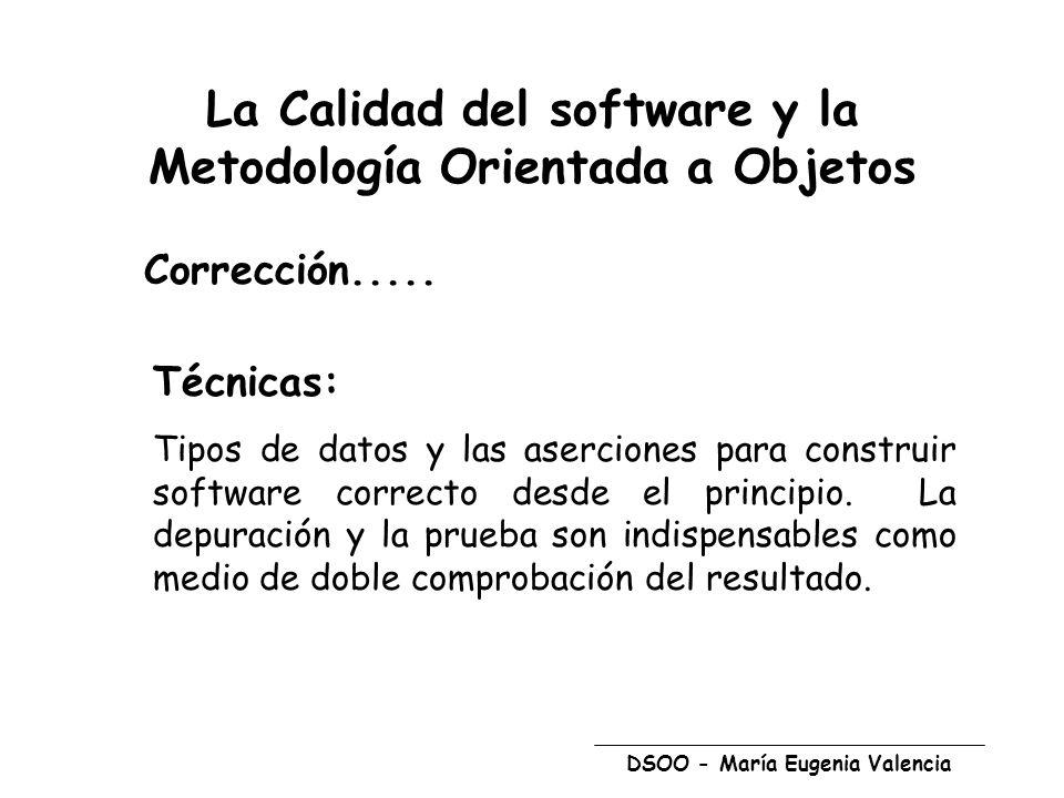 DSOO - María Eugenia Valencia Corrección..... Técnicas: Tipos de datos y las aserciones para construir software correcto desde el principio. La depura