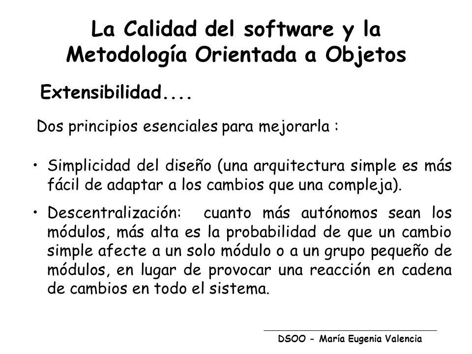 DSOO - María Eugenia Valencia La Calidad del software y la Metodología Orientada a Objetos Extensibilidad.... Dos principios esenciales para mejorarla