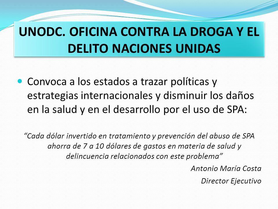 UNODC. OFICINA CONTRA LA DROGA Y EL DELITO NACIONES UNIDAS Convoca a los estados a trazar políticas y estrategias internacionales y disminuir los daño