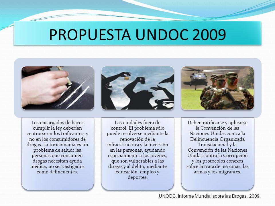 PROPUESTA UNDOC 2009 Los encargados de hacer cumplir la ley deberían centrarse en los traficantes, y no en los consumidores de drogas. La toxicomanía