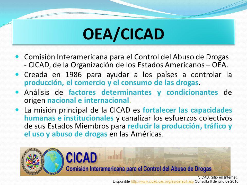 OEA/CICAD Comisión Interamericana para el Control del Abuso de Drogas - CICAD, de la Organización de los Estados Americanos – OEA. Creada en 1986 para