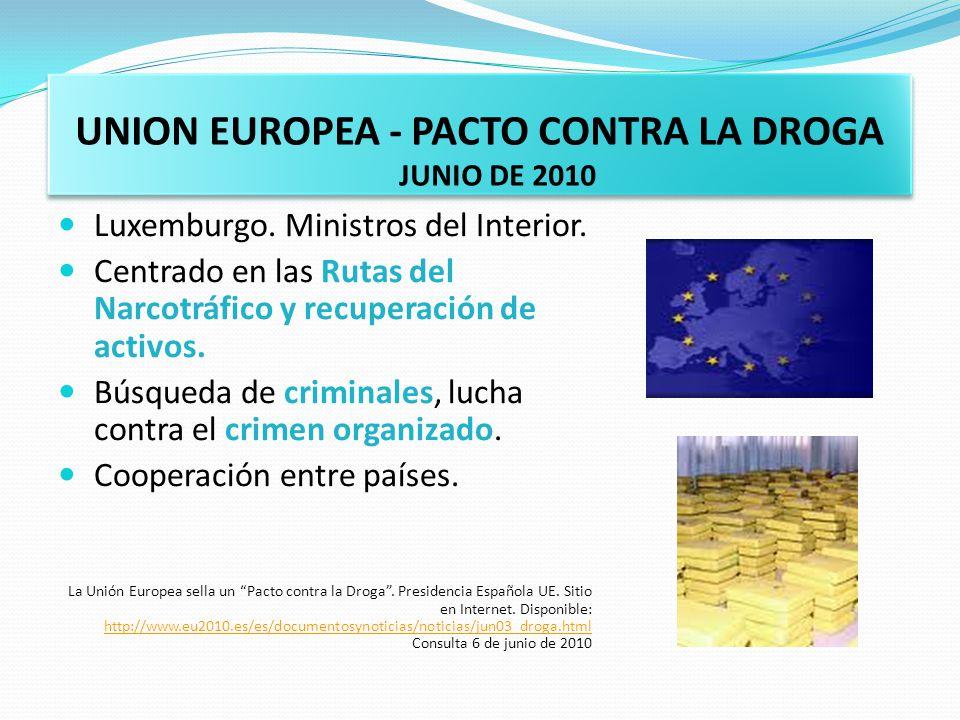UNION EUROPEA - PACTO CONTRA LA DROGA JUNIO DE 2010 Luxemburgo. Ministros del Interior. Centrado en las Rutas del Narcotráfico y recuperación de activ