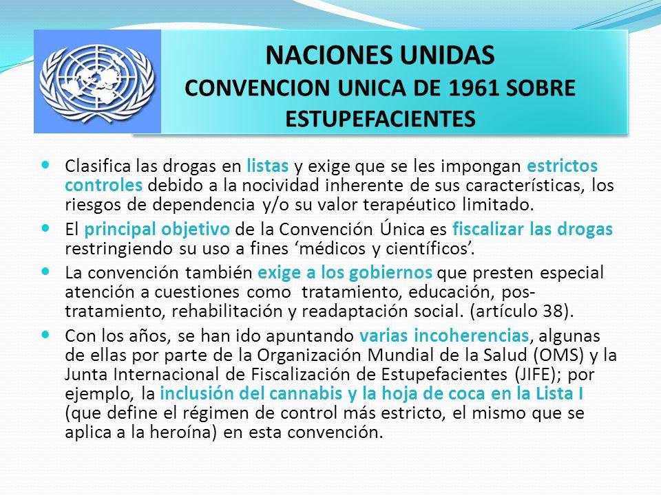 NACIONES UNIDAS CONVENCION UNICA DE 1961 SOBRE ESTUPEFACIENTES Clasifica las drogas en listas y exige que se les impongan estrictos controles debido a