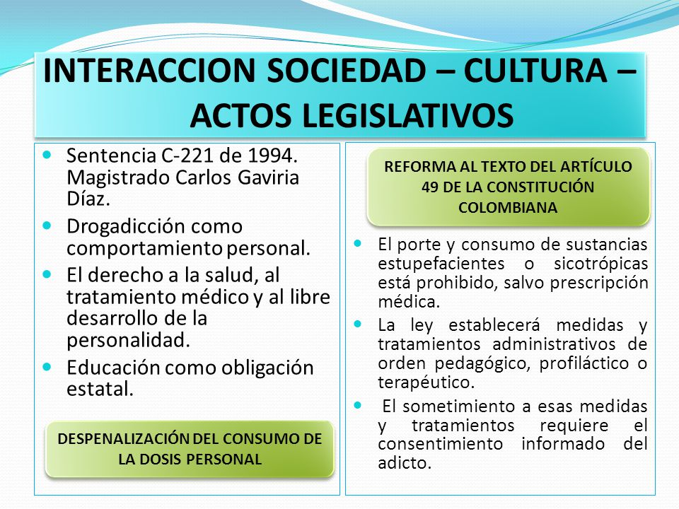 INTERACCION SOCIEDAD – CULTURA – ACTOS LEGISLATIVOS Sentencia C-221 de 1994.